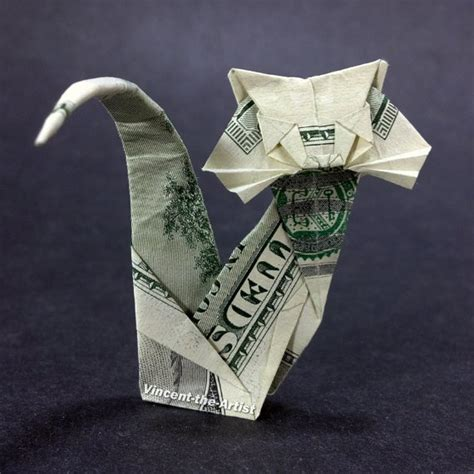 Money Origami Cat - hundred dollar bill origami cat unique gift animal pet