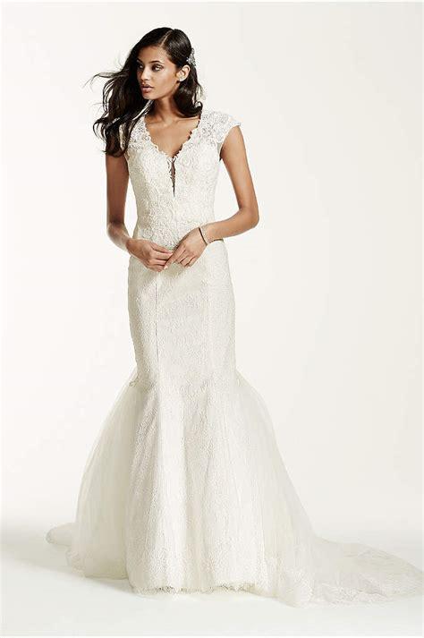 plunging  neck wedding gown  tiered skirt davids