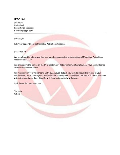 appointment letters appointment sle letter format letter format