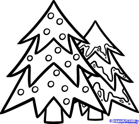 christ mas one drawing photo how to draw trees trees step by step stuff seasonal free