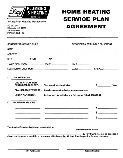 Plumbing Service Agreement Template by Service Contract Free Printable Documents