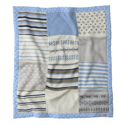 knitted baby comforter blue fairisle knitted baby blanket by smitten