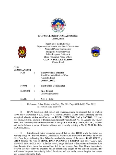 Pnp After Activity Report Format