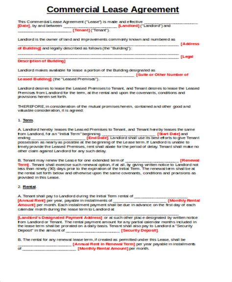 simple agreement 15 simple commercial lease agreements sle templates