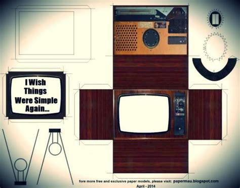 Papercraft Tv - retro style television paper model by papermau