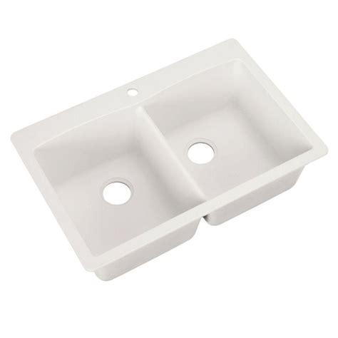 Kitchen Sinks Composite Blanco Dual Mount Granite Composite 33 In 1 Bowl Kitchen Sink In White