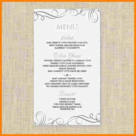 78 free wedding menu template printable menu card