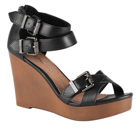 aldo wedge sandals in black black synthetic lyst