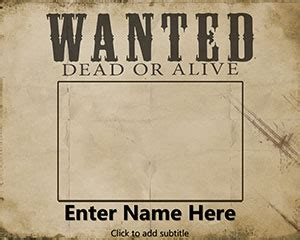 wanted poster powerpoint template free wanted dead or alive powerpoint template free