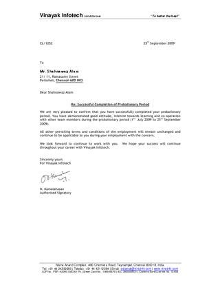 Confirmation Letter After Completion Of Probation Period Confirmation Letter By Shahnawaz Alam Issuu