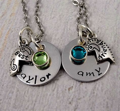 personalized best friends necklace set by rosecreektoo