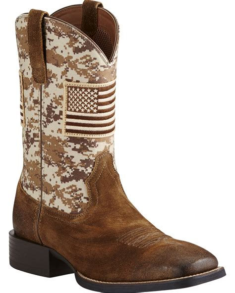 ariat s brown camo american flag boots wide square
