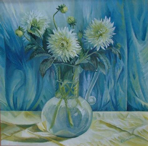 Paintings Of Flowers In A Vase by Flowers In Glass Vase Painting By Oleniuc