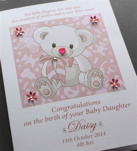 Handmade New Baby Cards - large a5 handmade personalised congratulations teddy