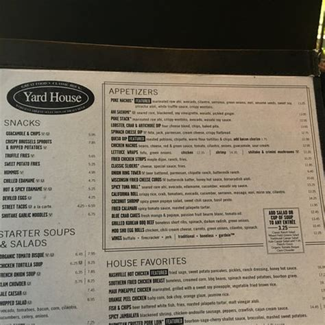 yard house menu yardhouse menu picture of yard house town square las
