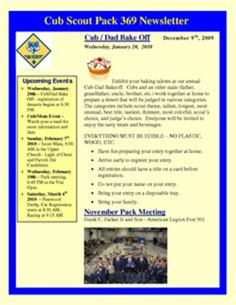 Newsletter Templates Cub Scouts And Cubs On Pinterest Cub Scout Newsletter Template