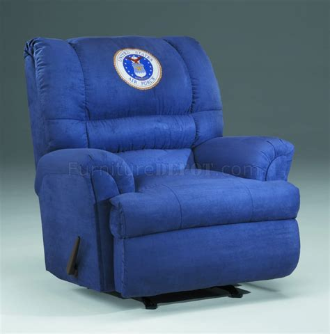 Air Recliner by Blue Fabric Modern Rocker Recliner W Us Air Emblem