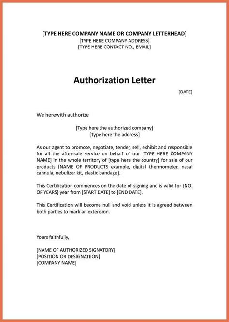 authorization letter format for tender opening authorization letter template bio exle