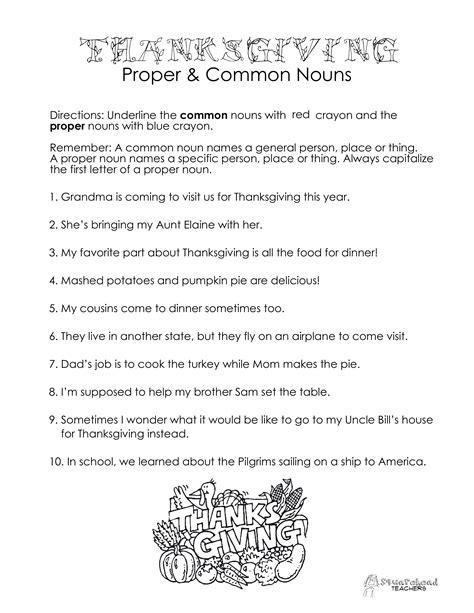 thanksgiving common vs proper nouns worksheet