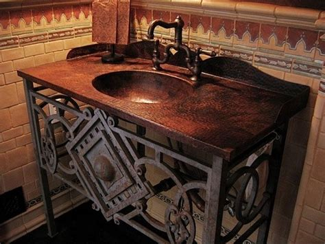 custom hammered copper vanity top w integrated sink and