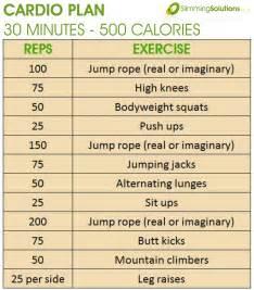 30 minute 500 calorie cardio exercise plan slimming