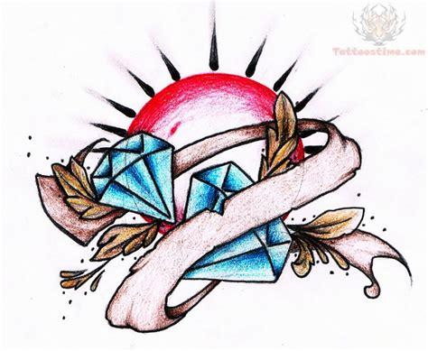 diamond tattoo with banner diamond banner tattoo design