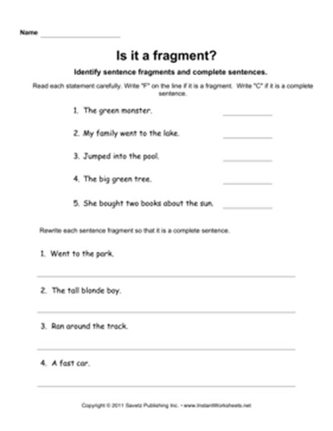 Free Sentence Fragment Worksheets by Sentence Fragments