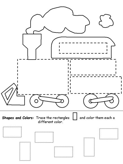 printable preschool train activities trace and color shapes train worksheet for kids edu for