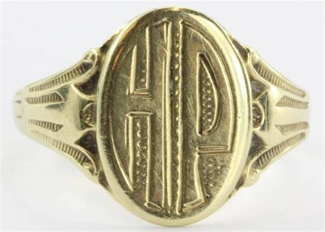 Ring Hp antique 14k gold ostby and barton signet ring hp at 1stdibs