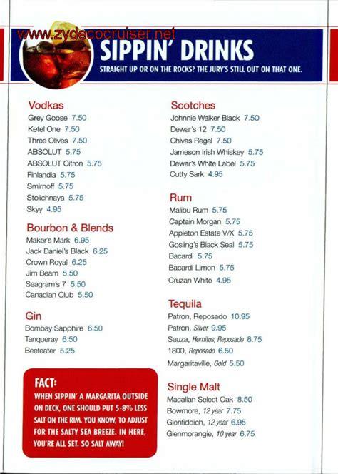 cocktail menu for 30 30 carnival cruise drink menu 2017 punchaos