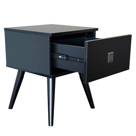 black bedside table ls vino bedside table with drawer in gloss black buy black