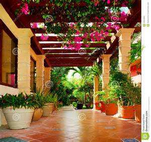 Exotic House Plans Terrace With Flowers Stock Images Image 24814394