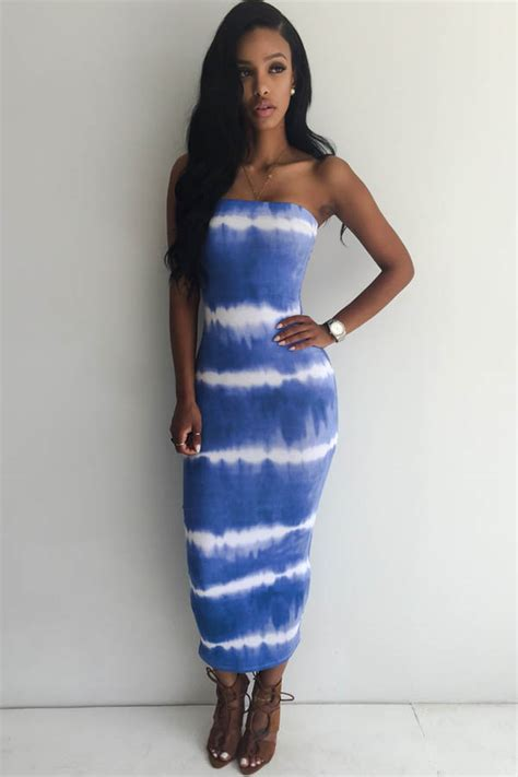 blue white tie dye strapless casual bodycon dress  casual