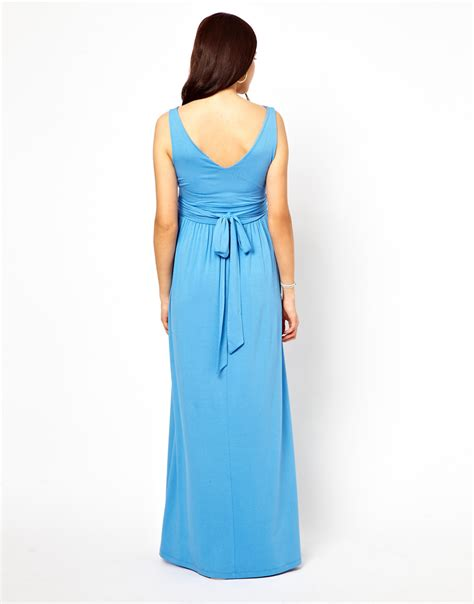 grecian drape dress asos exclusive maxi dress with grecian drape in blue lyst