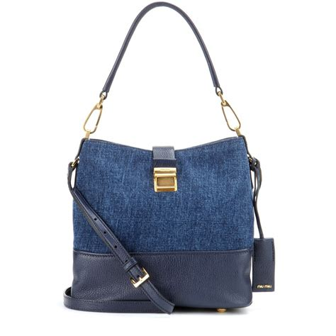 Bag Denim lyst miu miu leather and denim bag in blue