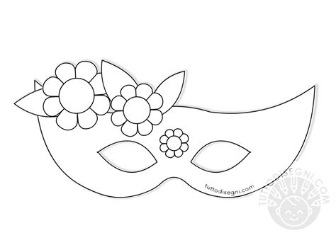 disegni da colorare dei fiori mascherina di carnevale con fiori da colorare