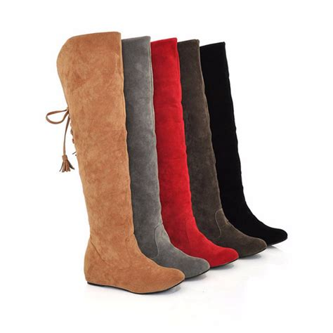 2016 new womens thigh high boots stretch the knee