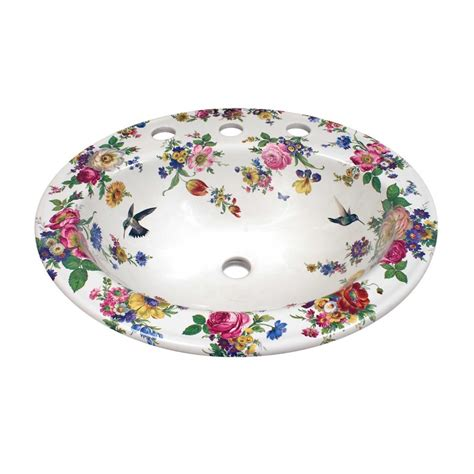 floral bathroom sinks scented garden hummingbirds painted toilet drop in