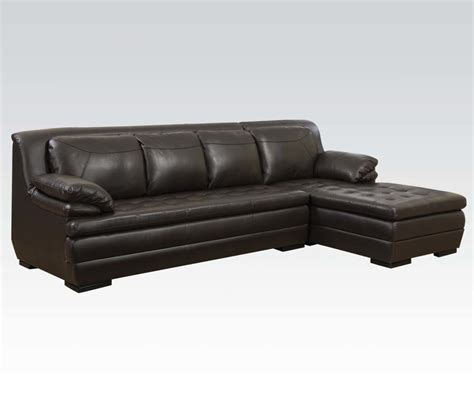 brown sectional with chaise dark brown leather match tufted contemporary sectional