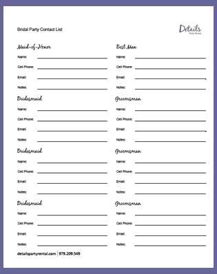 wedding contact list template details details rental s free wedding day templates