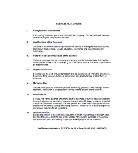 business plan outline template 21 free sle exle