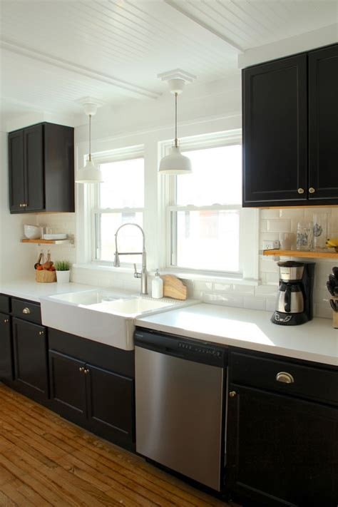 black bathroom sink cabinet black kitchen cabinets ikea farmhouse sink white counters and subway tile kitchen