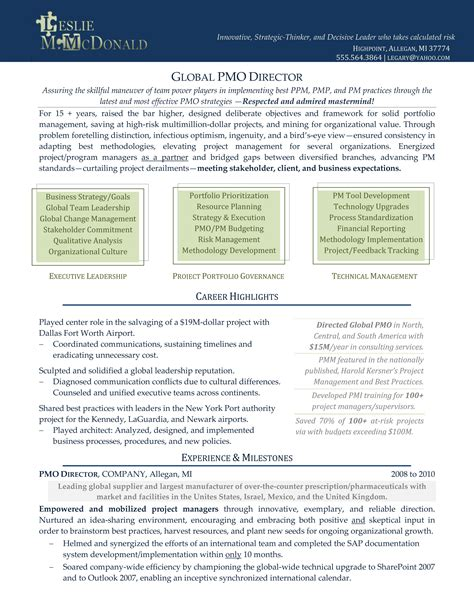 Resume Template Executive Management The Executive Resume