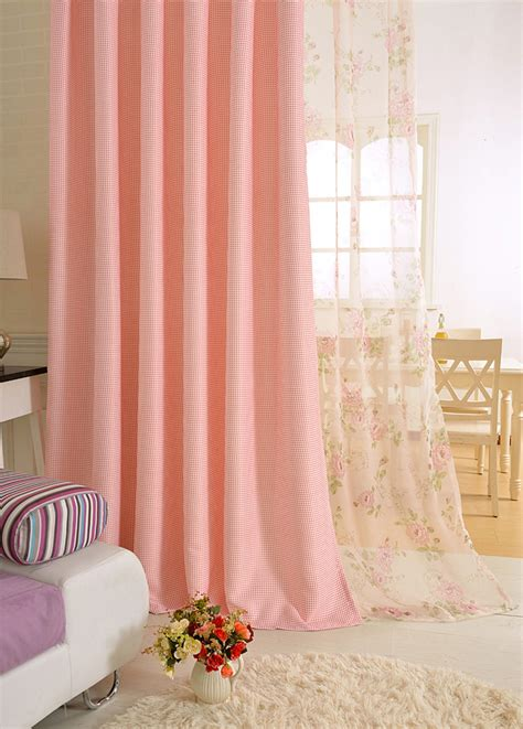 Pink And Beige Curtains Decor Pink Or Beige Floral Print Polyester Insulated Curtains