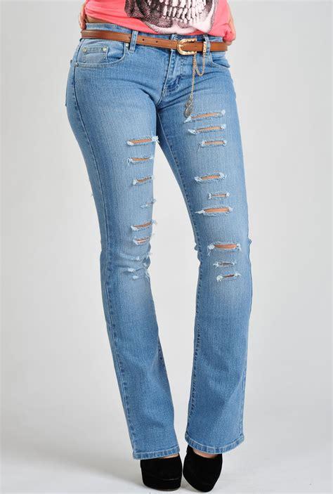 Ripped Boot Cut womens light blue ripped bootcut denim belted