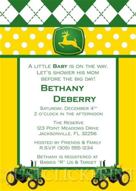 printable john deere birthday invitations free tractor john deere baby shower invitation pink blue