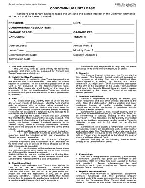 condominium lease fill online printable fillable