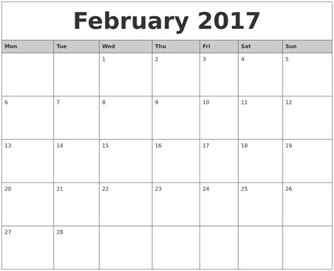 Printable Monthly Calendars February 2017 Monthly Calendar Printable