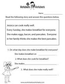 free printable reading comprehension test worksheet