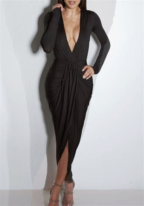 what is draped black draped cross front split plunging neckline bodycon